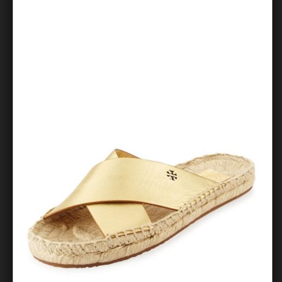 6b0558affdc2 Tory Burch Bima Metallic Gold Espadrille Sandals. M 5accddf5a6e3eaf463c3defa